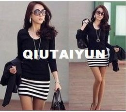 Wholesale Wholesale Korean Plus Size - NEW dresses ARRIVAL Korean fashion women Stripe mini dress long sleeve Casual dresses WY317