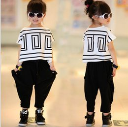 Wholesale Cute Girls Pants Outfits - Big Girls Summer Sets Outfits Bat Sleeve Loose T-shirt Tops+Black Harem Pants 2pcs Kids Children Clothing Fashion Cute Girls Casual Suits