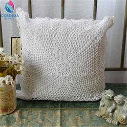 Wholesale- Federa coreana di alta qualità naturale cotone pizzo all'uncinetto federa con ritaglio fiore cuscino cuscino d'epoca cheap crochet pillowcases da federe di crochet fornitori