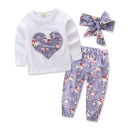 Wholesale toddler long sleeves shirts - Newborn Clohting Girls Floral Outfits Toddler Long Sleeve T Shirt+ Pants+ Headband 3pc Suits Infant Clothes set