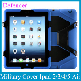 Wholesale Heavy Duty Leather - Heavy-Duty Case Defender W  Stand Military Cover With Screen Protector Stand dirt shock For Apple IPad 2 3 4 IPad Air IPad 5 PCC001