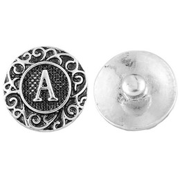 Wholesale Wholesale Vintage Metal Letters - 18.5mm Noosa Vintage A-M English Letters Ginger Snaps Metal Snap Button Interchangeable Jewelry Accessory Wholesale