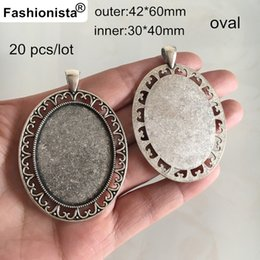 Wholesale Large Antique Pendant - Fashionista - 20 pcs Large Oval Blank Pendant Tray,Fit 30*40mm Cabochon,Antique Silver Base Settings For Photo Charms