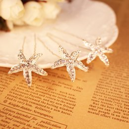 Wholesale Starfish Rhinestones - Silver Starfish Crystal Wedding Hair Pins Headpiece For Wedding Bridal Headpiece Wedding Headpiece Bride Accessories Hair Accessories