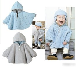 Wholesale button poncho - Baby Autumn Winter Babies Infant Girls Boys Coats Hooded Poncho Warm Cloak Fur Childs Children Outwear Clothes K4914