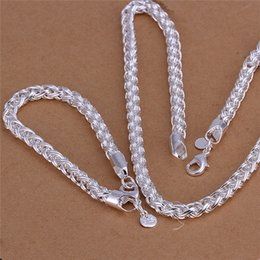 Wholesale Men Silver Necklace Bracelet Sets - S059 Top quality 925 sterling silver necklace Twisted ring (20inches) & Bracelets (8inches) Fashion Jewelry Set For Men Free shipping