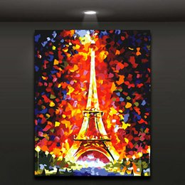 Wholesale eiffel tower canvas painting - Flaming Eiffel Tower Abstract Painting Modern Oil Picture Printed on Canvas for Home Living Hotel Cafe Wall Deocr