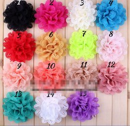 """Wholesale Eyelet Flower Fabric - 15% off hot sale 4"""" 15 Colors Colorful Fabric Flower Accessories For Kids Eyelet Hollow Out Blossom Scalloped Flowers For Headband 240pcs"""