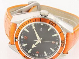Wholesale antique calendar - Automatic Mechanical Orange Planet Ocean Co-Axial 600 m Fashion Best Mens Sport Watches Date Luxury Top Brand Leather Wristwatches For Men