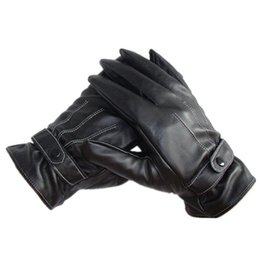 Wholesale Gloves Anal - Wholesale-Hot Sale 1pair Winter Motorcycle Gloves Solid waterproof Men Luxurious Pu Leather gloves Super Driving screen touch Gloves ANAL
