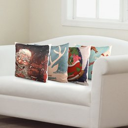 Wholesale Xmas Bedding - Wholesale-Merry Christmas Theme Santa Claus Reindeer Design Cover Decorative Bed PillowCases Toy as Gift Xmas Present