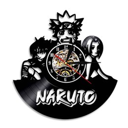 Wholesale Wall Stickers Naruto - Naruto Best Gifts Fashion accessories Wall Art Black Vinyl Record Wall Clock Wall Sticker Home Decor Stickers Led Backlight Clock