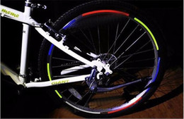 Wholesale Hot Wheels Stickers Bikes - HOT SALE Reflective stickers bike Cool DIY Bicycle wheel stickers Motorcycle Wheel Rims Reflective Stickers Bicycle accessories 8 COLORS