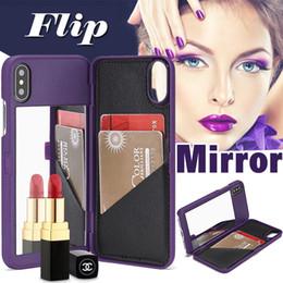 Canada Étui portefeuille femme fille maquillage miroir antichoc hybride plastique dur avec support de carte mince en cuir pour iPhone XS Max XR X 8 7 6 6S Plus Offre