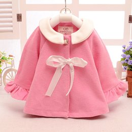 Wholesale Pink Lolita Coat - Wholesale-New arrived 2015 lolita style fall winter toddler girls coat Korean version lovely outerwear clothes 2colors for newborns 0-2 T