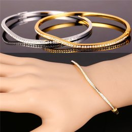 Wholesale Gold Filled Clear - Clear Austrian Rhinestone Jewelry for Women Platinum 18K Real Gold Plated Casual Style Irregular Bangle Bracelet