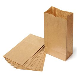 Wholesale Paper Recyclable Package Bag - 100pcs lot Brown Kraft Paper Bags Recyclable Bakery packaging bags,cookies bags, food packaging, Paper bread bags. 12x7x22cm