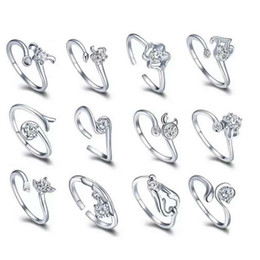 Wholesale Vintage Animal Rings Sterling - 925 sterling silver items crystal jewelry ring sets 12 constellations horoscope wedding charms vintage classic hot