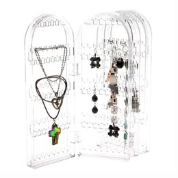 Wholesale Types Ear Studs - Acrylic Clear Jewellery Ear Studs Earring Display Stand Holder Folded Show Rack MD281