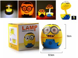 Wholesale Minion Free Dhl - HOT SALE Foldable 3D Cartoon Minions 16 LED White Light Table Lamp Night Light with US Plug Free Shipping DHL