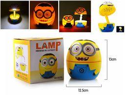 Wholesale Minions Dhl - HOT SALE Foldable 3D Cartoon Minions 16 LED White Light Table Lamp Night Light with US Plug Free Shipping DHL