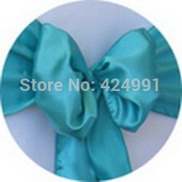 Wholesale Turquoise Satin Chair Sashes Wholesale - Wholesale-Big Discount 230pcs #95 Turquoise Green Satin Chair Sash For Weddings Events &Party Decoration