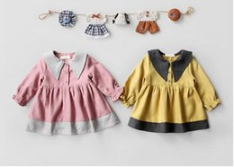 Wholesale Simple Pale Pink Dresses - NEW Euro Fashion Girl Lolita Dress turn down collar long sleeve thick dress Autumn winter girl dress elegant simple style free shipping