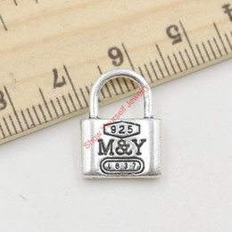 Wholesale y pendant - 15pcs Hot Sale Antique Silver Love Lock M&Y Charms Pendants for Jewelry Making DIY Handmade Craft 17X13mm Jewelry making DIY
