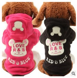 Wholesale Dog Clothes Bear - Small Dog Pet Clothes Cute Cartoon Bear Hoodie Warm Sweater Puppy Coat Apparel SHM free shipping