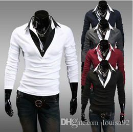 Wholesale White Leather Shirt Collar - 2016 5colors M-XXL New Fashion Casual Leather Patchwork Slim Fit Man Male Polo Shirts Long Sleeve Turn-down Collar Tee Tops free shipping