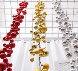 Wholesale Silver Ornament Balls - 1.8Meters Gold Red Silver Ball Suspension ornament Strap Garland Christmas Tree Holiday Venue Decoration