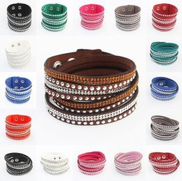 Wholesale Wholesale American Wrap Bracelets - 2016 New Fashion Multilayer Wrap Unise Bracelets Slake Deluxe Leather Charm Bracelet With Sparkling Crystal Women Men Valentine Gift