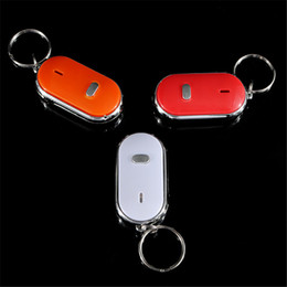 Wholesale key finders wholesale - 12PCS LED Whistle Key Finder With Key Chain Discoverer Detector Prevent Key Lost Inductor Whistle Sound Control