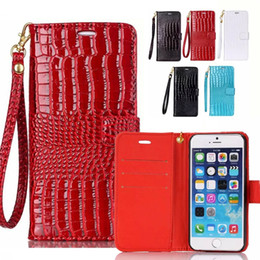 Wholesale Red Croc Bag - Lanyard Wallet Case For iPhone 6 6S 7 Plus 8 8 Plus Flip Cover Luxury Croc PU Leather Phone Bag Case For Samsung S6 S7 S8 S8 Plus