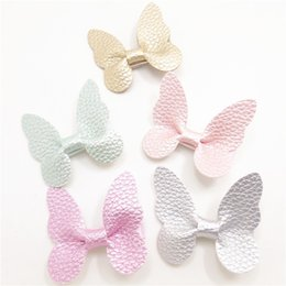 Wholesale Butterfly Garden Party - 15pcs  Lot 5 .5cm Artificial Leather Butterfly Hair Clips Gold Silver Girls Garden Party Barrette Non Slip Sparkly Sweet Hairpin
