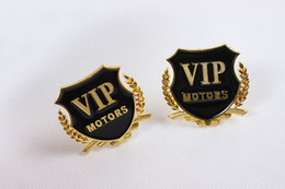 Wholesale Vip Decal Stickers - 2Pcs Set Auto Car 3D Golden VIP Emblem Metal Badge Sticker Logo Decal Motors free shipping
