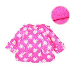 Wholesale Toddlers Trench Coats - Wholesale-Infantil Baby Girl Coat Outwear Cute Daisy Pattern Bebe Toddlers Waterproof Trench Coat With Polar Fleece Inside Baby Jacket