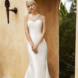 Wholesale Enzoani Sexy Wedding Dress - 2016 Blue Enzoani Lace Wedding Dresses Sheer Back Applique Jewel Neckline Full Length Mermaid Bridal Gowns Charmeuse Wedding Dress