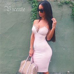 Wholesale Clearance Bustiers - Wholesale-Mid-Year Clearance!!! 2015 Fashion Deep Vneck Criss Cross Straps Mi Amore Celebrity Club Party Bustier Bodycon Dress VJ028