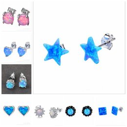 Wholesale Opal Stud Earrings Sterling Silver - 8 pairs lot difference style high quality new fashion 925 sterling silver fire synthetic opal blue and white, pink color stud earring gift