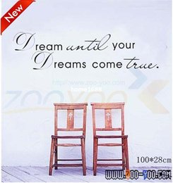 Wholesale Bedroom Quotes - dream until your dreams come true quote wall decal zooyoo8009 home decoration removable vinyl wall sticker
