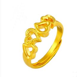 rings for bride Australia - more style heart yellow wedding ring for women,24k gold plated marry bride party jewelry accessories