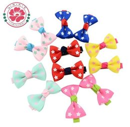 Wholesale Hair Clips Little Girl Ribbon - Fashion 100 Pcs  Lot Little Girl Hair Accessories Boutique Hairpins Kids Ribbon Bows with Clip Dots Bowknot Hair Clips