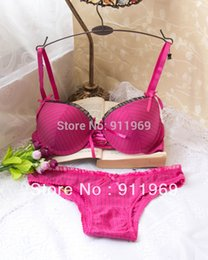 Wholesale Cheap Lingerie Wholesale Free Shipping - Wholesale-Hot 2015, pink gold red bombshell bra, cute cheap bras, full-size deep v bra set, C   D cup, lingerie free shipping