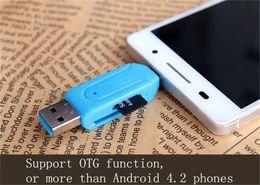 Wholesale Sd Card Reader Android - SD+Micro SD USB OTG Card Reader Universal Micro USB OTG Card Reader Micro USB OTG Adapter for Samsung S4 S5 S6 Android Cellphone