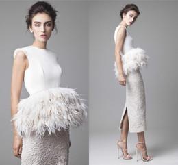Wholesale Elegant Short Feather Prom Dresses - 2016 Elegant Krikor Jabotian Evening Dresses White Ivory Lace Satin Feather Peplum Sheath Tea Length Short Prom Dresses For Party Split Back