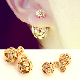earrings for girls double sided Coupons - Hot Selling New 2015 Fashion Double Sides Pearl Earring, Two Gold Ball Stud Earrings For Girls Gold Plated Beads Jewelry EH002