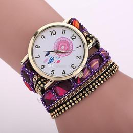 2017 moda caliente de las mujeres pulseras reloj señoras vestido Dreamcatcher remaches cadena de cuero reloj de pulsera relojes de cuarzo creativo 100 unids / lote desde fabricantes