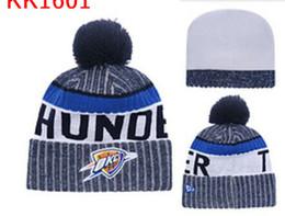 Wholesale Pearl Gemstones - New Fashion Winter OKC basketball Hats for Men women Knitted Beanie Wool Hat Man Knit Bonnet Beanies Gorro Warm Cap