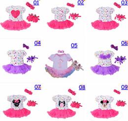 Wholesale Baby Chevron Dresses - infant baby christmas romper dress 3pc set girls birthday tutu romper dress & infant chevron polka dot walking shoes & girls bow headband